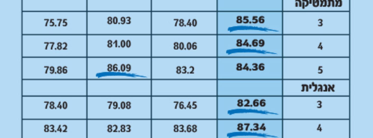 רוגוזין בקרhית אתא דורגה במקום הראשון בקריות באנגלית ומתמטיקה
