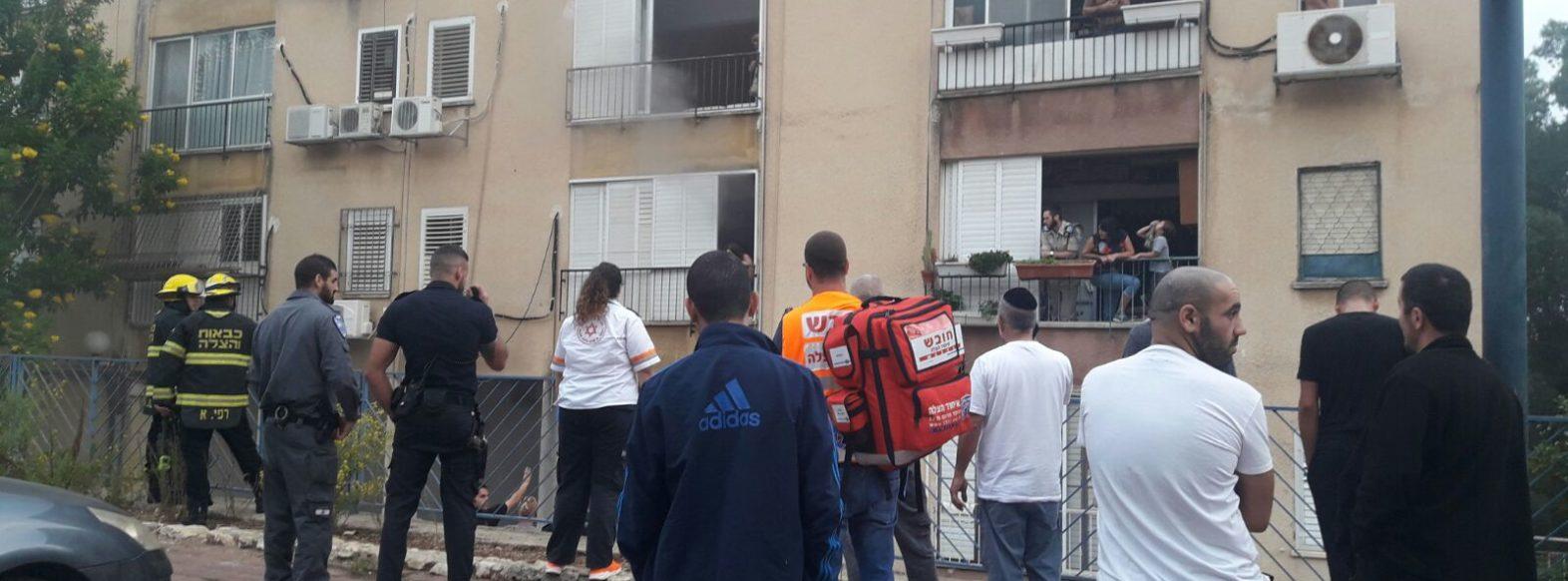 שריפה בבניין מגורים ברחוב מינץ בקריית אתא