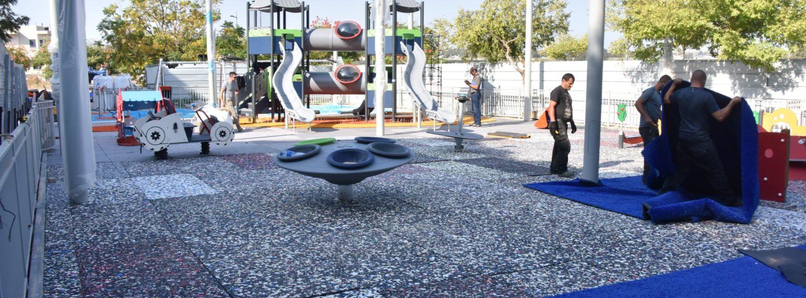 הסתיימו העבודות לבניית גן משחקים חדש ברחוב י. ל. פרץ