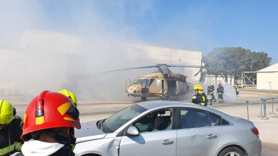 חיפה, תרגיל דמה של התרסקות מסוק בנמל התעופה בחיפה