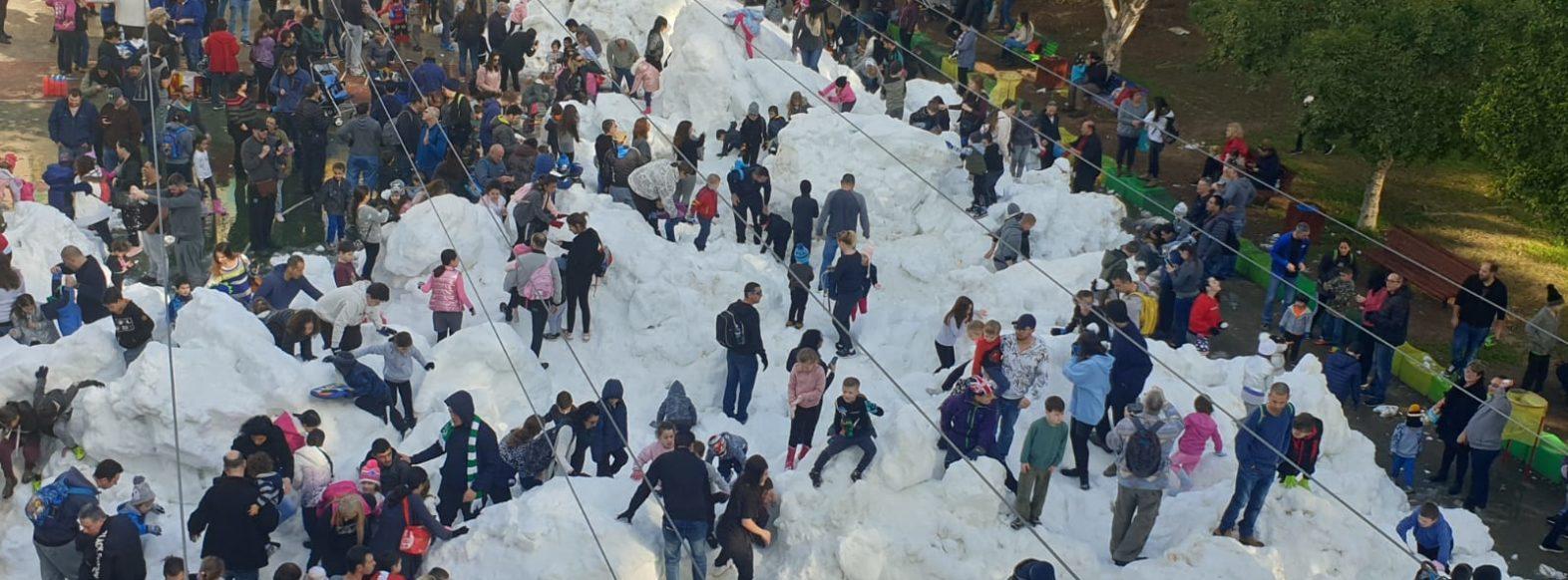 אלפי תושבי העיר נהנו משעשועי  חורף ושלג