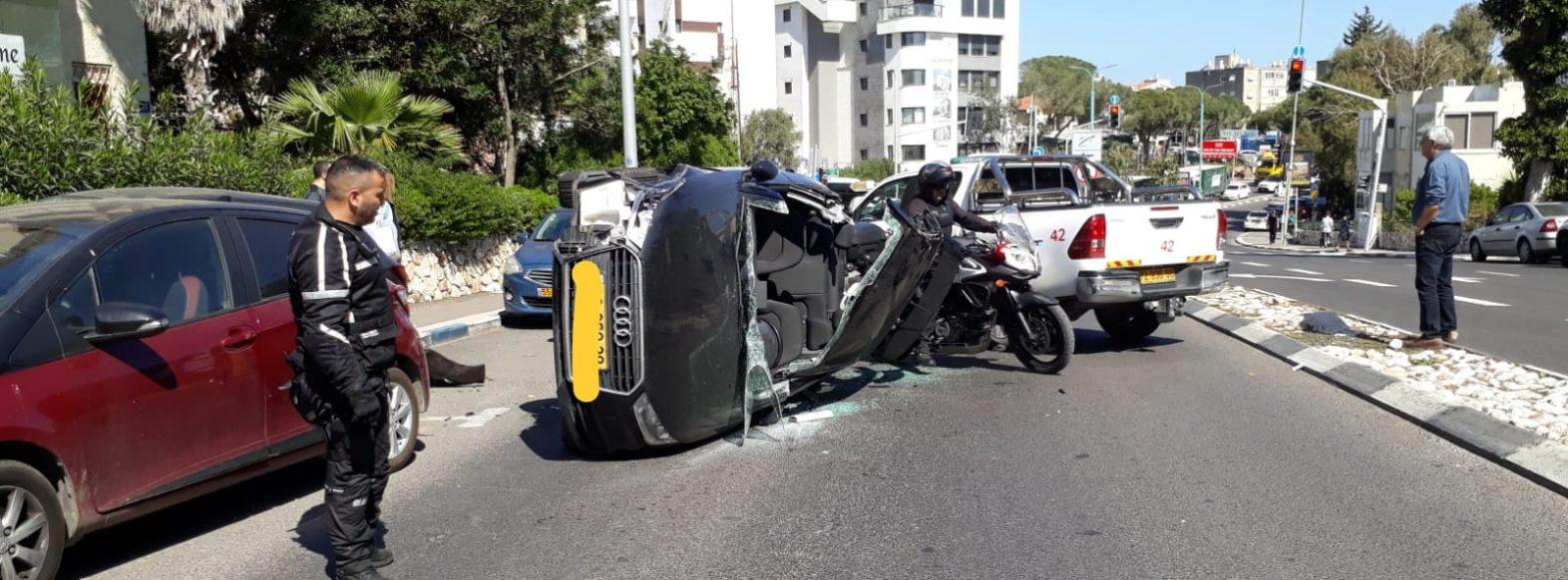 צעיר כבן 30 נפצע בינוני בתאונת דרכים בחיפה